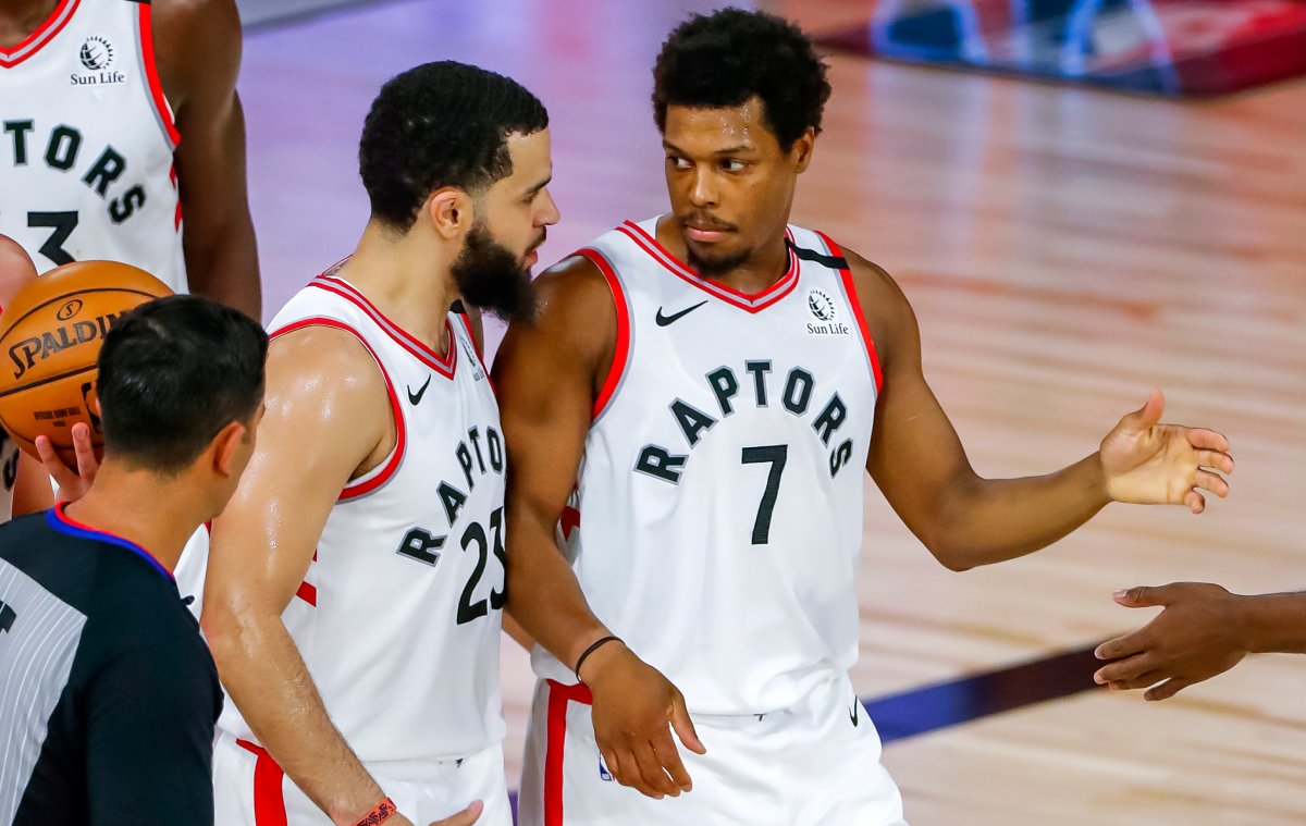 Toronto Raptors guard Kyle Lowry (R) and guard Fred VanVleet (L) during their NBA Eastern Conference semifinal playoff game against the Boston Celtics on September 1, 2020.