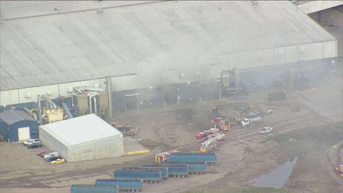 Fire crews battle a blaze at the Edmonton Waste Manage Facility at 250 Aurum Rd. Tuesday, Sept. 22, 2020.