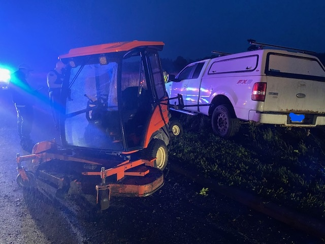 An industrial lawn mower collided with a pickup truck early Thursday morning on the Sir George-Étienne Cartier Parkway, paramedics say.