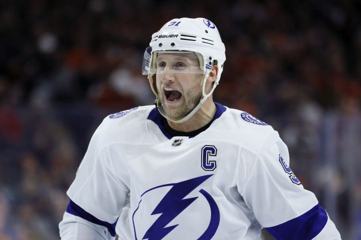 Tampa Bay Lightning's Steven Stamkos yells at an official during the second period of an NHL hockey game against the Philadelphia Flyers, Saturday, Jan. 11, 2020, in Philadelphia.