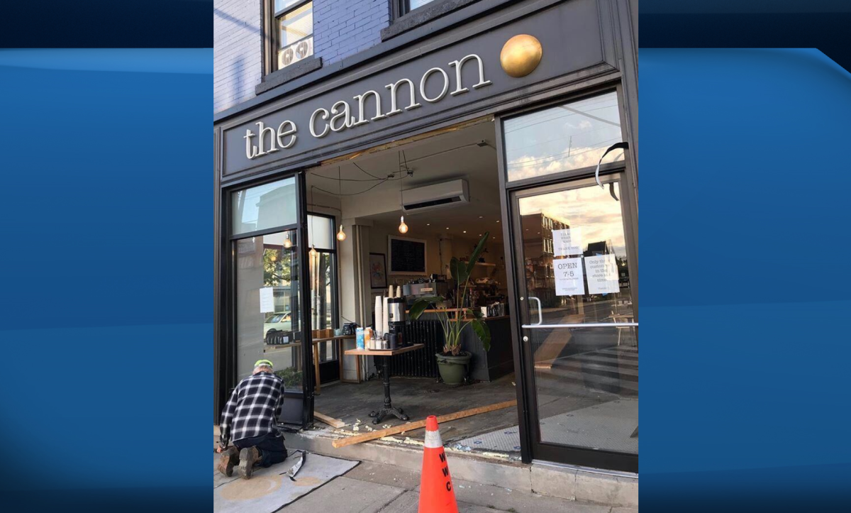 A man has been charged with impaired driving after a vehicle smashed through the glass windows of an east Hamilton coffee shop.