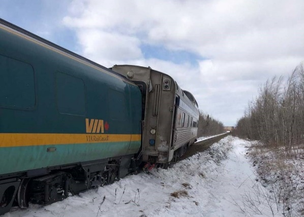 In April 2019, a train was travelling eastward on a CN Newcastle railway and crossing over Lakeville Road when the last two passenger cars derailed upright.
