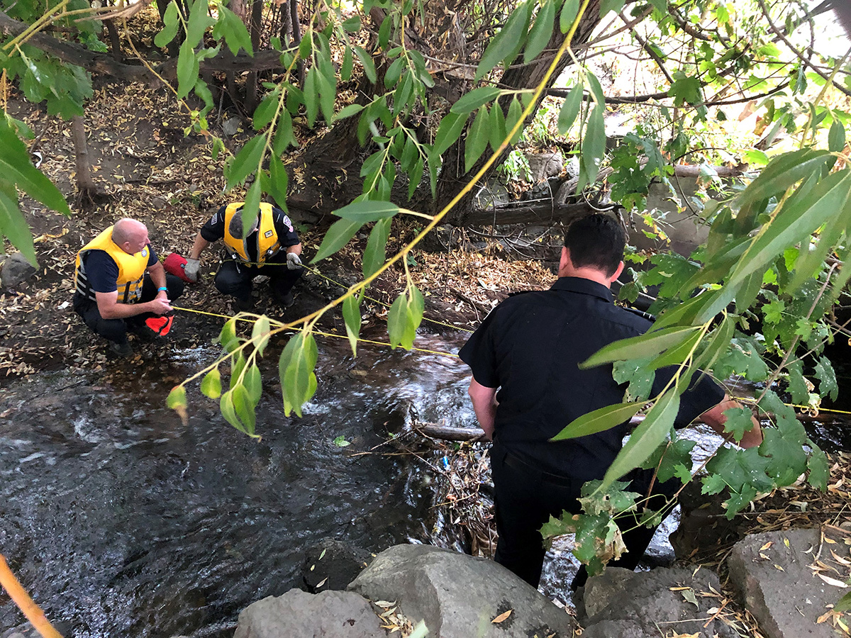 A view of the rescue conditions on Wednesday at the culvert along Lower BX Creek.
