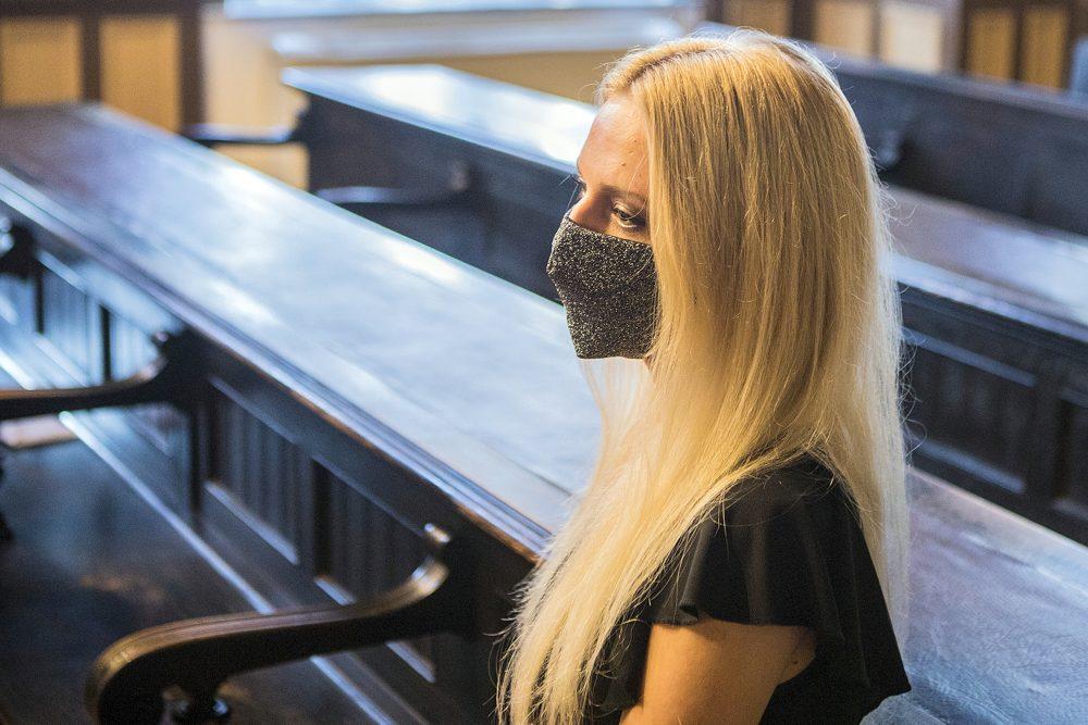 Julija Adlesic appears in at court in Ljubljana, Slovenia, Friday, Sept. 11, 2020.