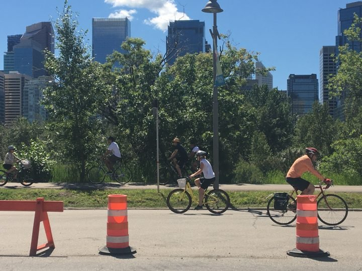 A cyclist travels on Memorial Drive in Calgary during a temporary lane closure put in place during the COVID-19 pandemic.