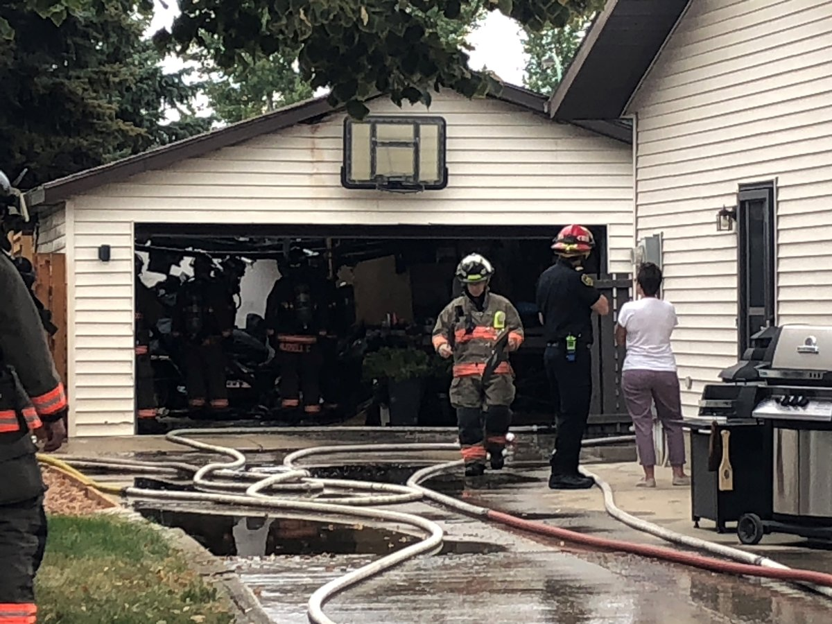 Saskatoon firefighters extinguished a garage fire in the 300 block of Bowman Crescent on Saturday afternoon.