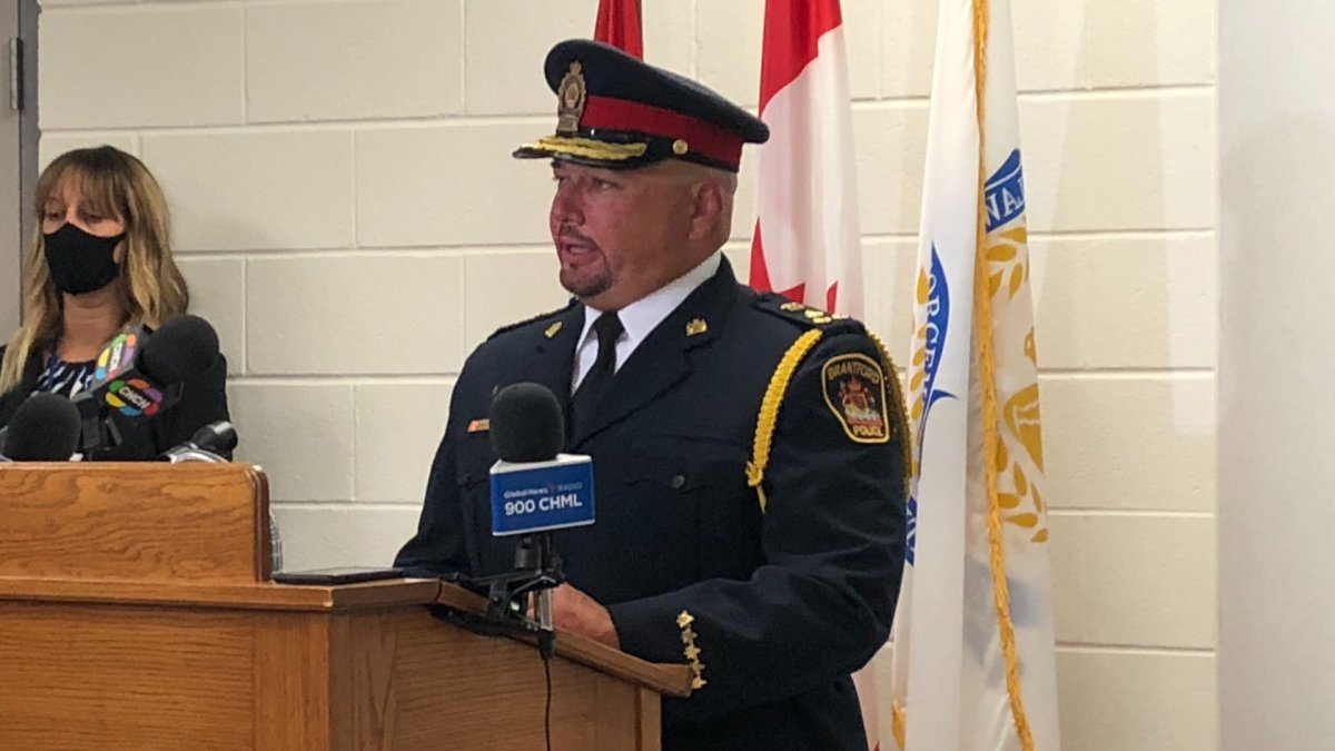 Police chief Robert A. Davis gives an update on the shooting death of Coby Carter at Brantford police headquarters on Sept. 23, 2020.