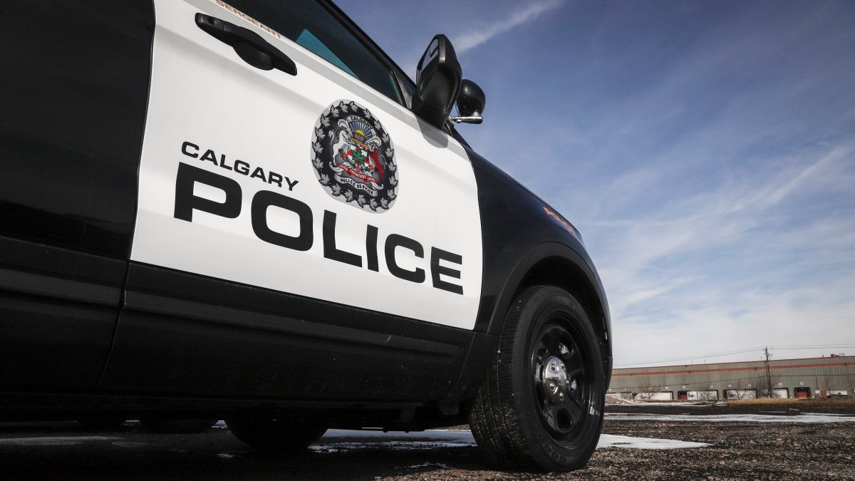 Police vehicles at Calgary Police Service headquarters on Thursday, April 9, 2020.