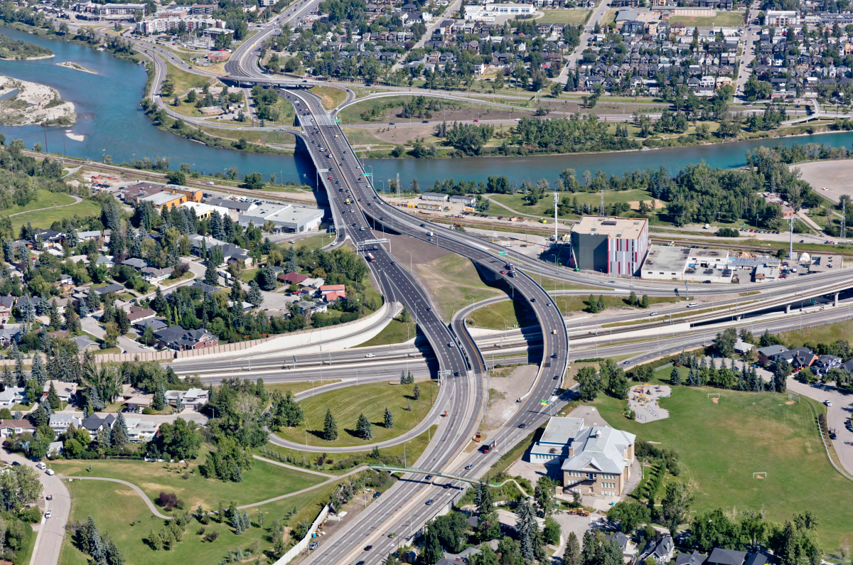 An aerial view of the new Crowchild Trail crossing the Bow River and Bow Trail following a $87-million, 3-year project.