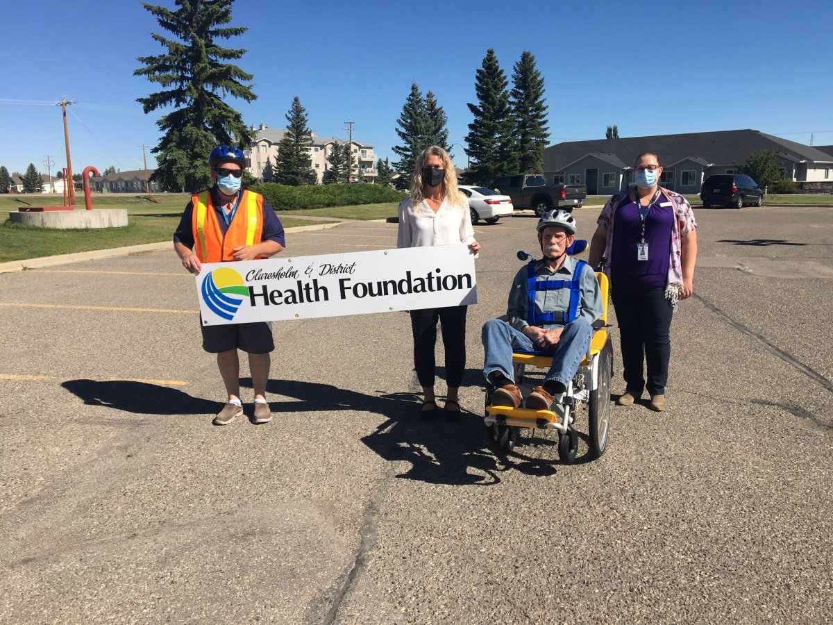 Residents at the Willow Creek Continuing Care Center now have a duet bike to help them get outside during the pandemic, all thanks to donations to the Claresholm and District Health Foundation.