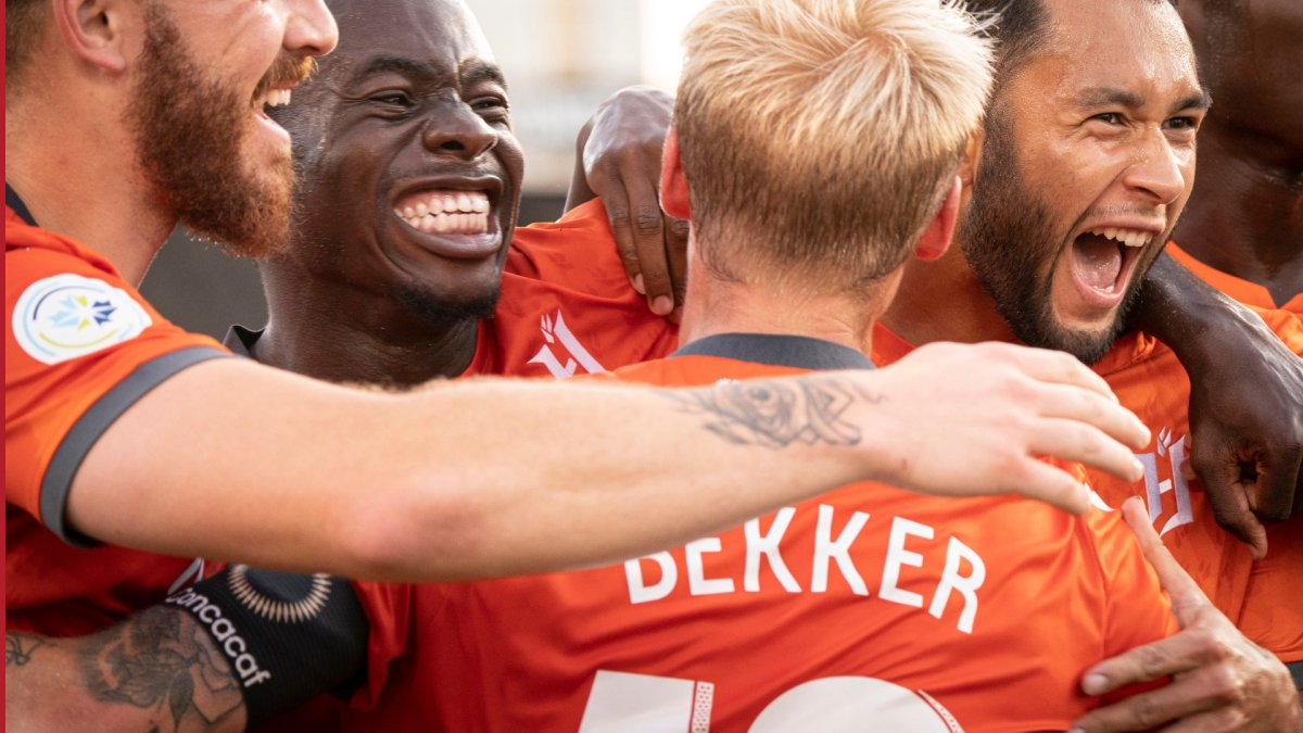 Hamilton's Forge FC celebrate a game-winning goal during a Scotiabank CONCACAF League soccer match against Antigua Guatemala FC, in Hamilton, Ont., Thursday, Aug. 1, 2019.