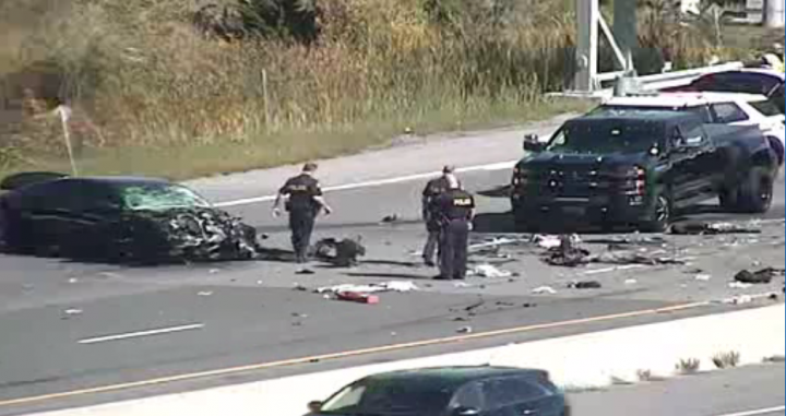 The scene of the crash in the area of Highway 401 and Whites Road on Friday.