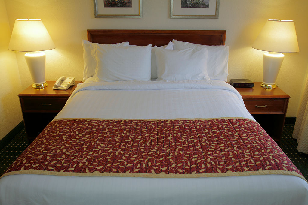 File: Photo of a guest room in a hotel.
