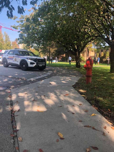 Langley RCMP attend the scene of an incident involving a 31-year-old agitated man who was later admitted to hospital in critical condition following an altercation with Campus Security on Wednesday afternoon.