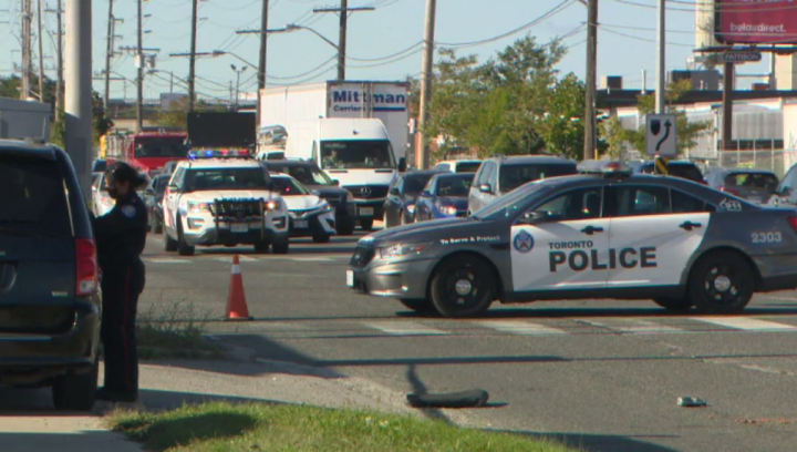 The scene of the collision at Martin Grove and Belfield roads on Thursday.