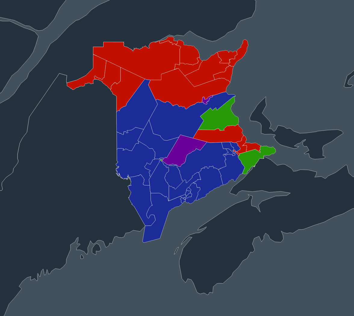 The New Brunswick electoral map shows that northern, traditionally Acadian ridings vote red.