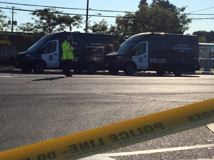 The scene of a fatal pedestrian collision in north Etobicoke on Saturday.
