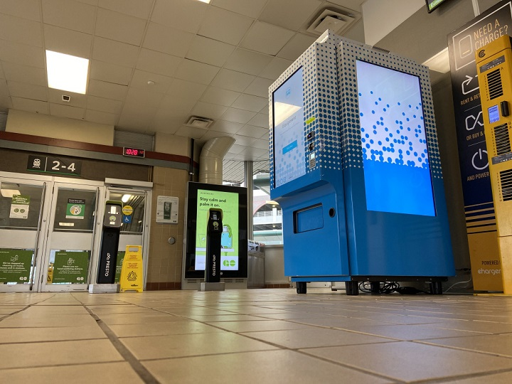 A personal protective equipment vending machine that sells masks, disposable gloves, hand sanitizer etc. at Oakville GO Station.