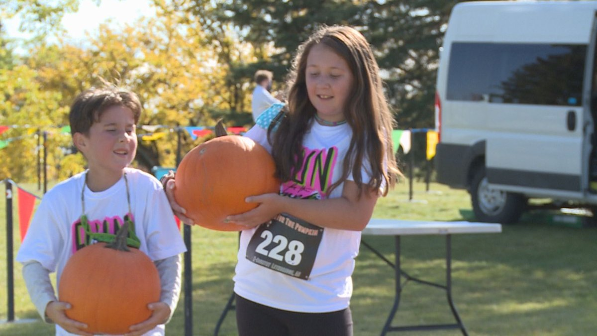 Connor and Hannah Bastian were two of 293 runners who took part in the 2020 Run for the Pumpkin race in Lethbridge.