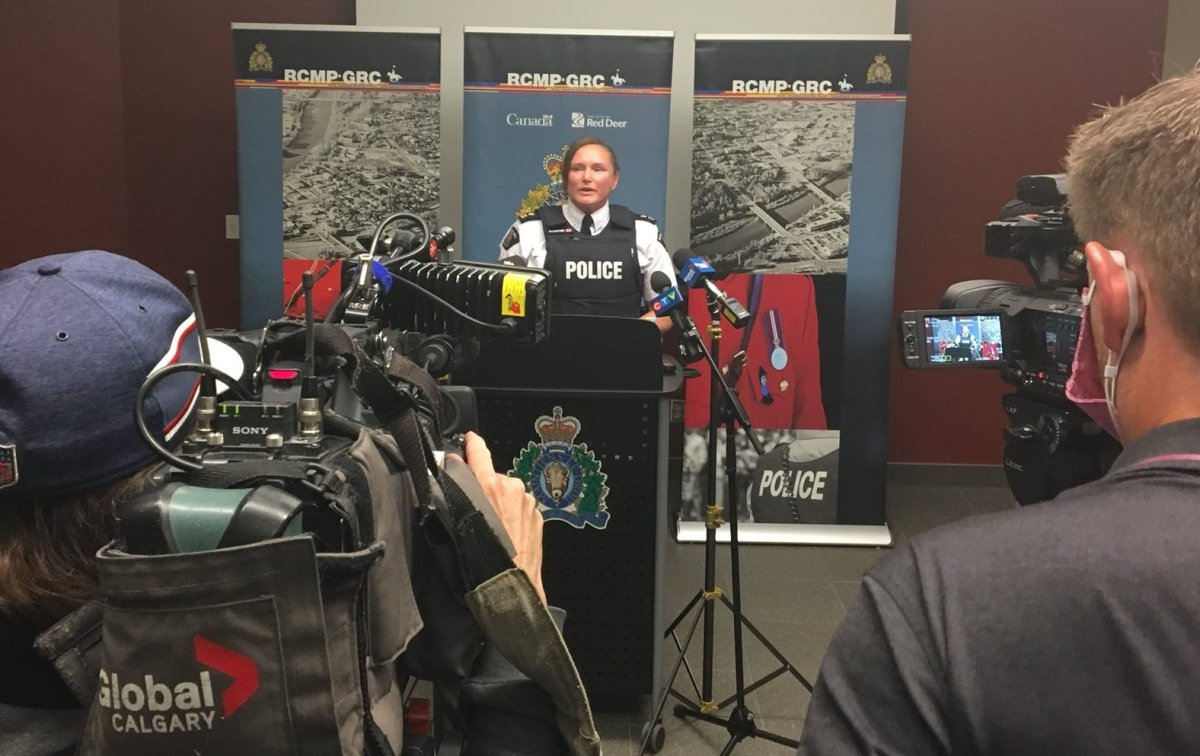 Red Deer RCMP address the media on Tuesday, Sept. 22, 2020 regarding violence from counter-protesters at a recent anti-racism rally.