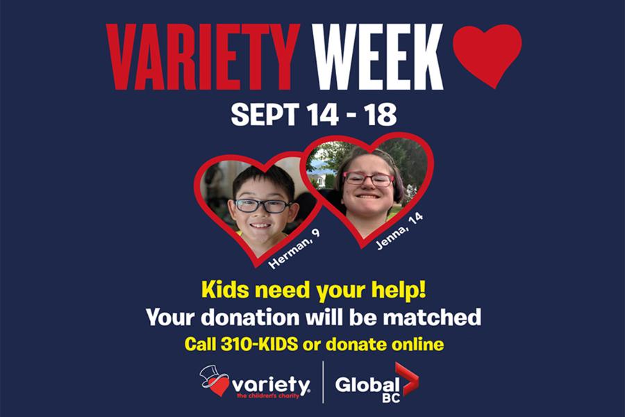 Variety Week runs Sept. 14 to 18, 2020, on Global BC.