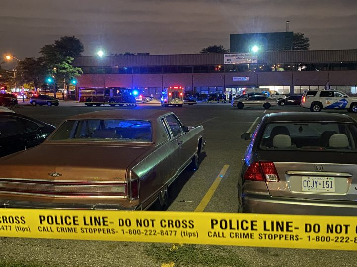 Emergency crews at the scene of a fatal stabbing in Toronto's west end on Saturday.
