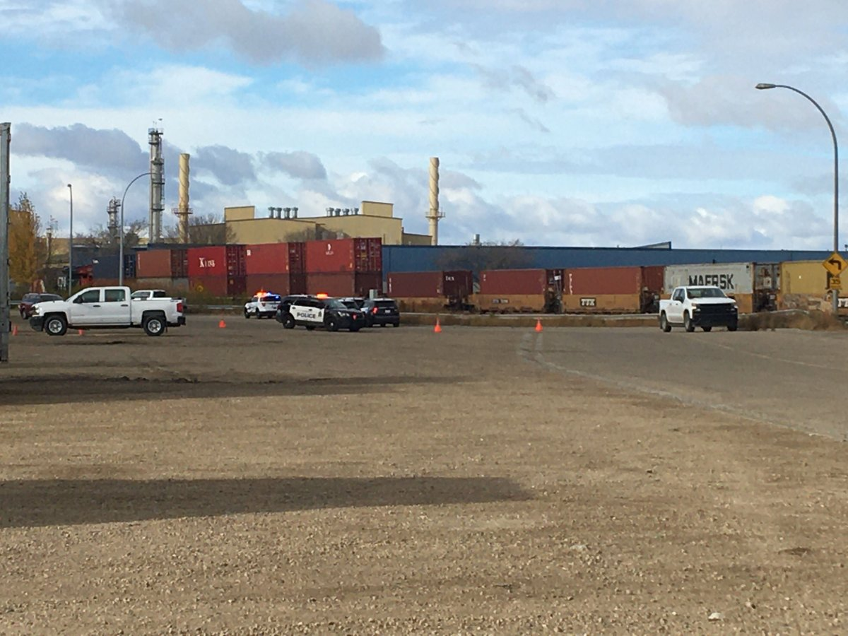 Edmonton police asked drivers to avoid the area north of Yellowhead Trail and 149 Street after a man was struck and killed by a train on Oct. 15, 2020.