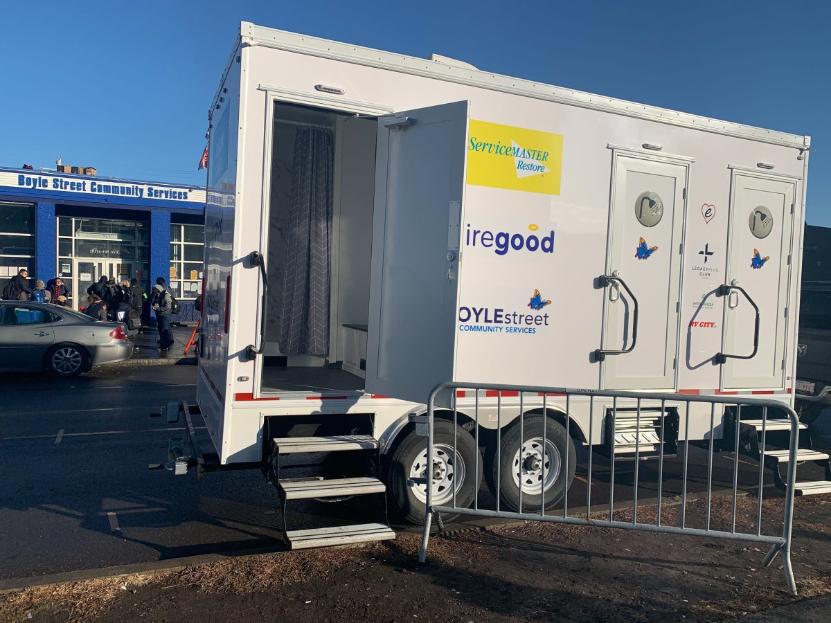 Boyle Street Community Services converted trailers into mobile shower units for those experiencing homelessness. Oct. 29, 2020.