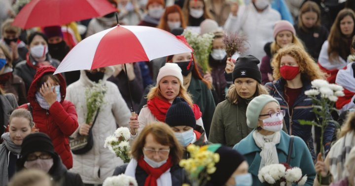 Hundreds of protesters in Belarus continue to push for president's resignation