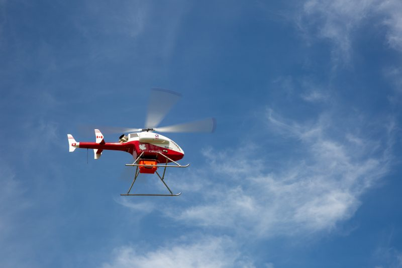 The University of Calgary's Ward of the 21st Century (W21C) collaborates with Alberta Precision Labs, Stoney Nakoda Frist Nation, and SAIT to test whether the use of drones is possible to deliver essential medical services and supplies during a health crisis.
