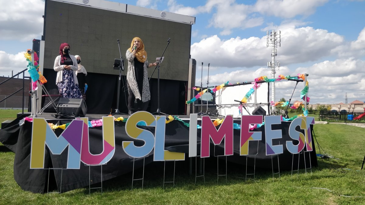 Performers on stage at a drive-in MuslimFest event in Toronto in September.