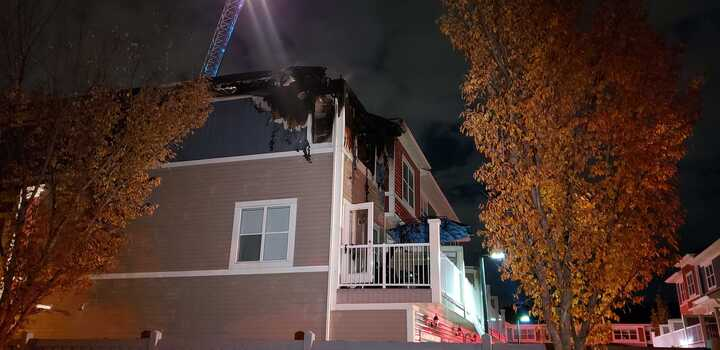 Edmonton firefighters respond to a fire on Allan Drive Southwest on Friday, Oct. 2, 2020.