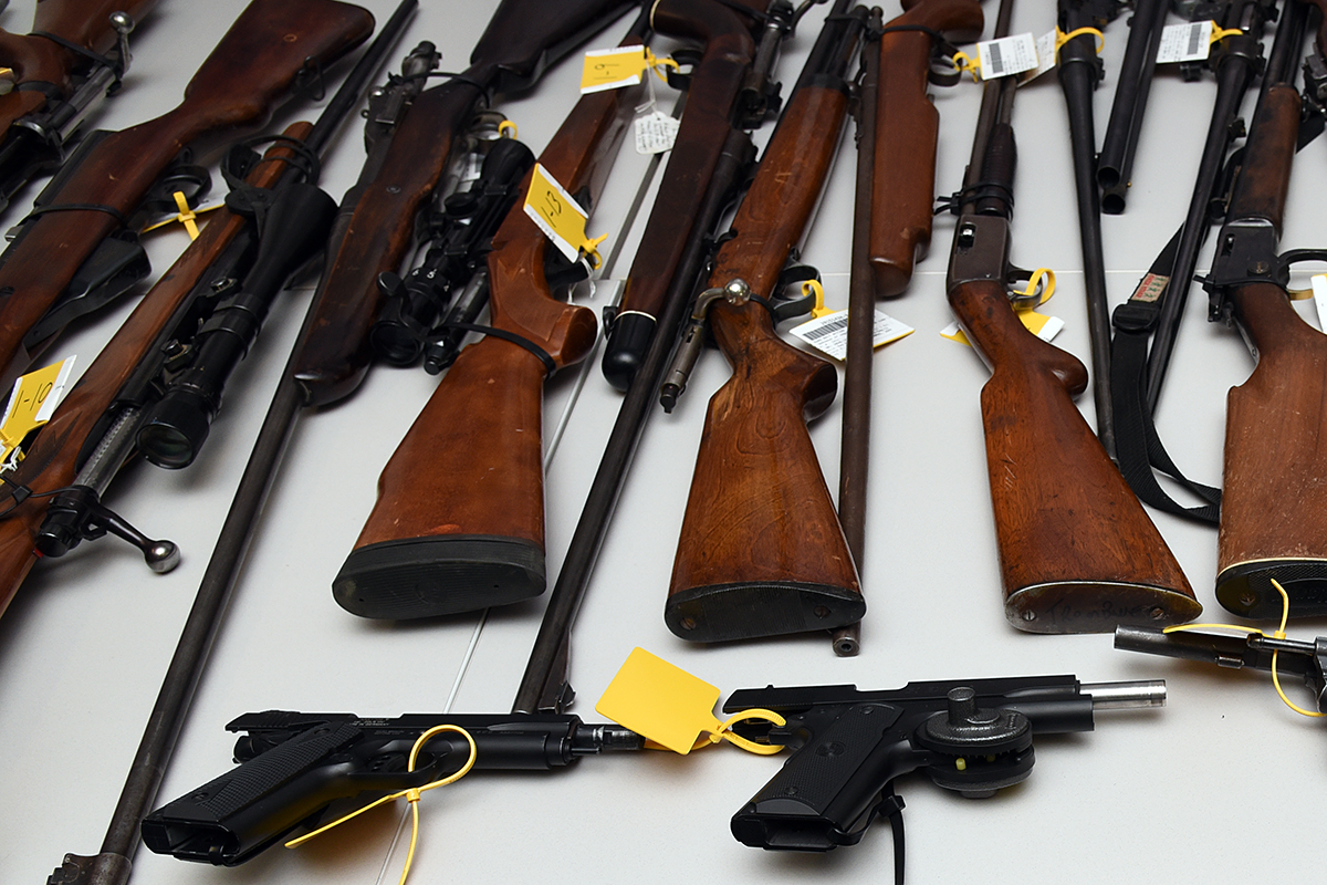 Five people are facing 76 charges after an investigation into stolen property and firearms trafficking in southeast Alberta.
