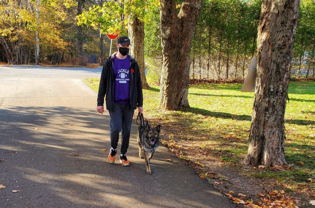 New Brunswicker Alex walks his dog Freddie in a fundraiser for pancreatic cancer.
