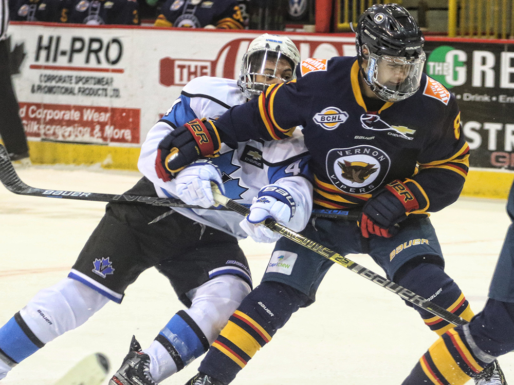 The Vernon Vipers, seen here earlier action against the Penticton Vees, scored a 4-1 victory over Salmon Arm Silverbacks in BCHL pre-season action on Friday night.