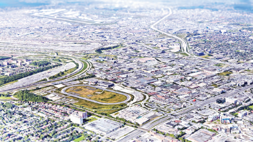 A graphic rendering of the site of the former Blue Bonnets racetrack in Montreal's west end.