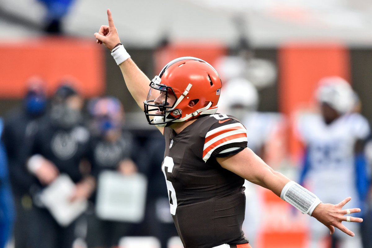 Cleveland Browns quarterback Baker Mayfield celebrates a touchdown pass during an NFL game against the Indianapolis Colts, Sunday, Oct. 11, 2020, in Cleveland.