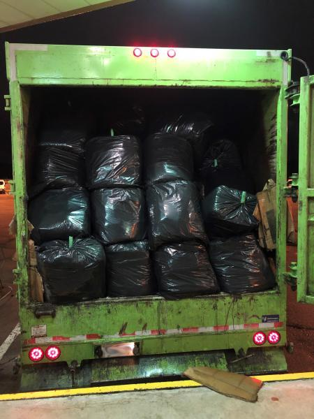 Customs officers at the Blue Water Bridge uncovered more than a half ton of marijuana inside a garbage truck.