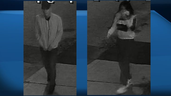 In a news release issued Friday, Edmonton police released images of two of four people considered suspects in an Oct. 17 shooting that left a 30-year-old man in life-threatening condition. They also released images of a suspect vehicle.