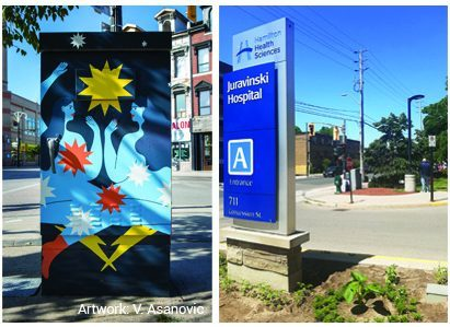 The installation of public art on utility boxes near hospitals is extension of a graffiti-prevention program involving 35 utility boxes in the downtown core.