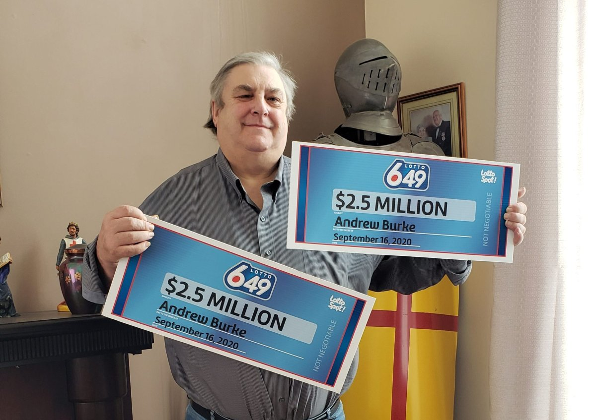 """Andrew Burke, of Calmar, Alta., had to """"split"""" a $5 million Lotto 6-49 prize with himself after he accidentally bought two tickets."""