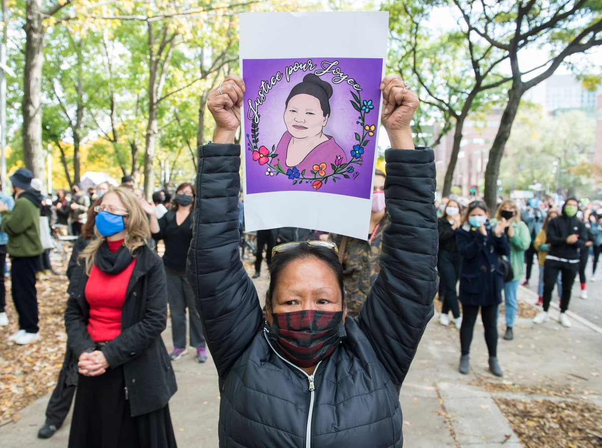 People take part in a protest called 'Justice for Joyce' in Montreal, Saturday, October 3, 2020, where they demanded Justice for Joyce Echaquan and an end to all systemic racism.