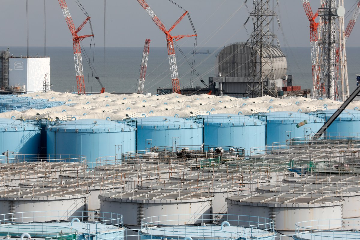 Reactor buildings and storage tanks for contaminated water at the Tokyo Electric Power company's Fukushima Daiichi nuclear power plant.