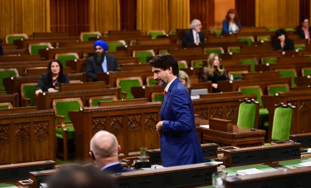 Prime Minister Justin Trudeau votes in the House of Commons on Parliament Hill in Ottawa on Wednesday, Oct. 21, 2020.