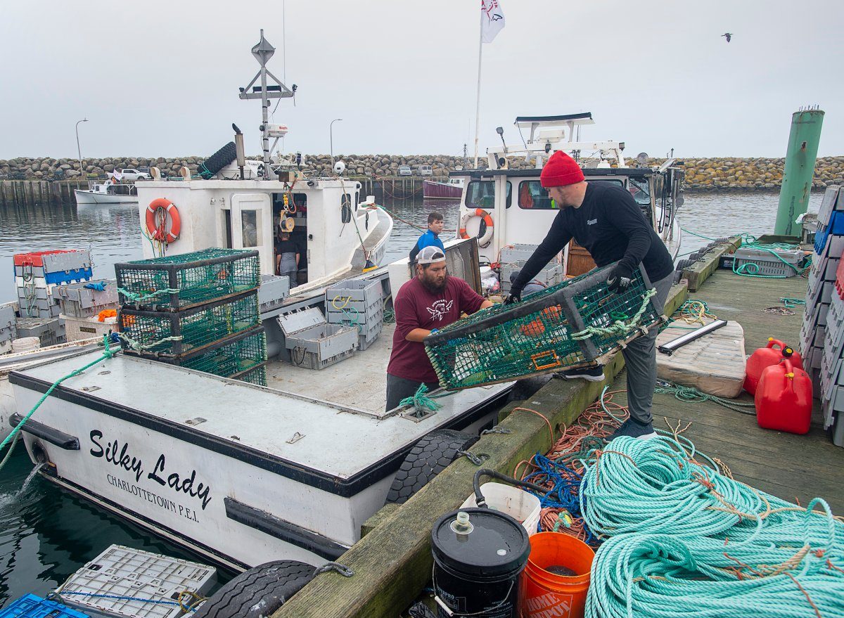 Indigenous lobster boats are geared up in Saulnierville, N.S. on Wednesday, Oct. 21, 2020.