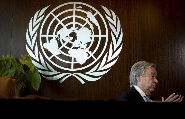 United Nations Secretary-General António Guterres speaks during an interview, Wednesday Oct. 21, 2020, at U.N. headquarters.