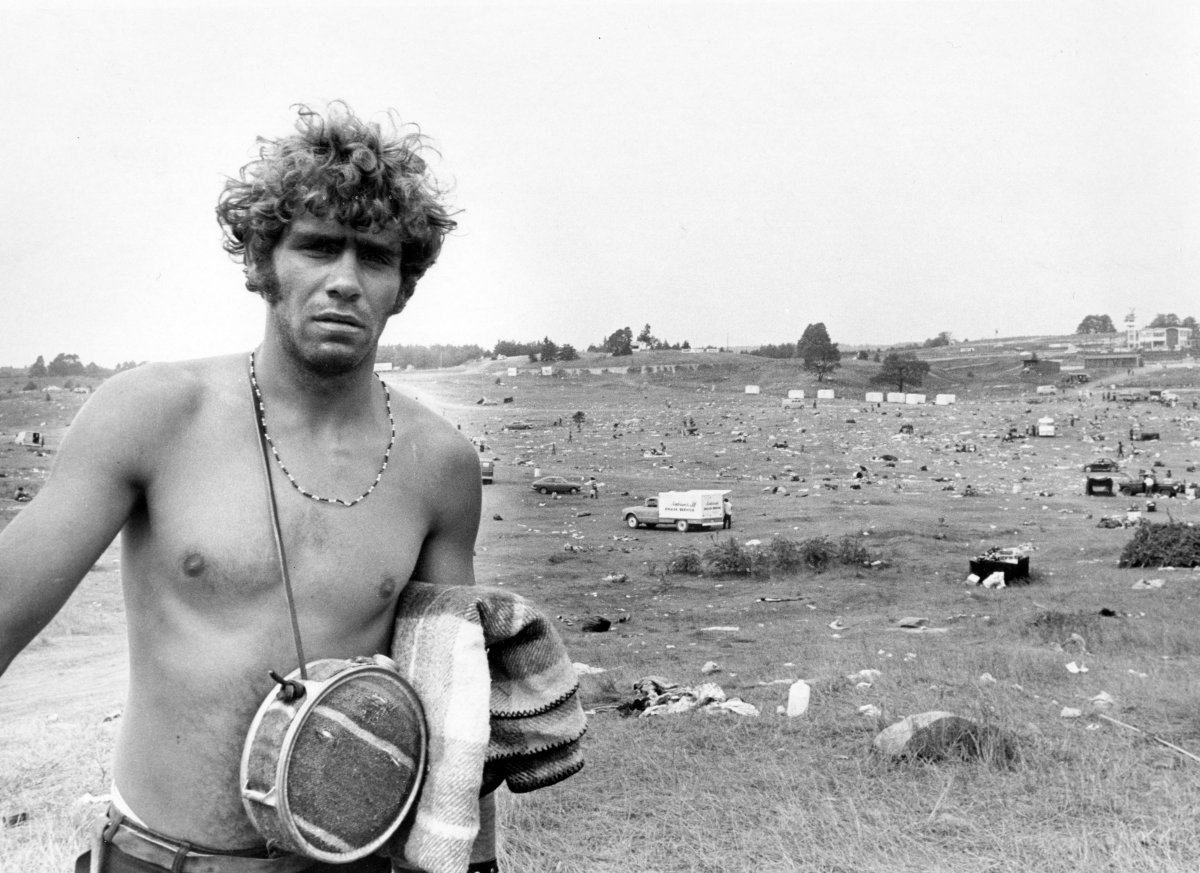 Alton Hamm from East Harvard County, Conn. on his way home at the end of the Strawberry Fields rock festival, Aug. 10, 1970.