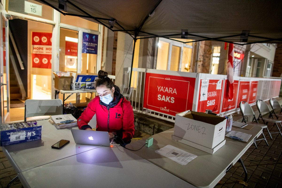 A volunteer is seen outside the campaign office of Liberal candidate YaÕara Saks in the York Centre riding before the polls close in the federal by election in Toronto on Monday, October 26, 2020.