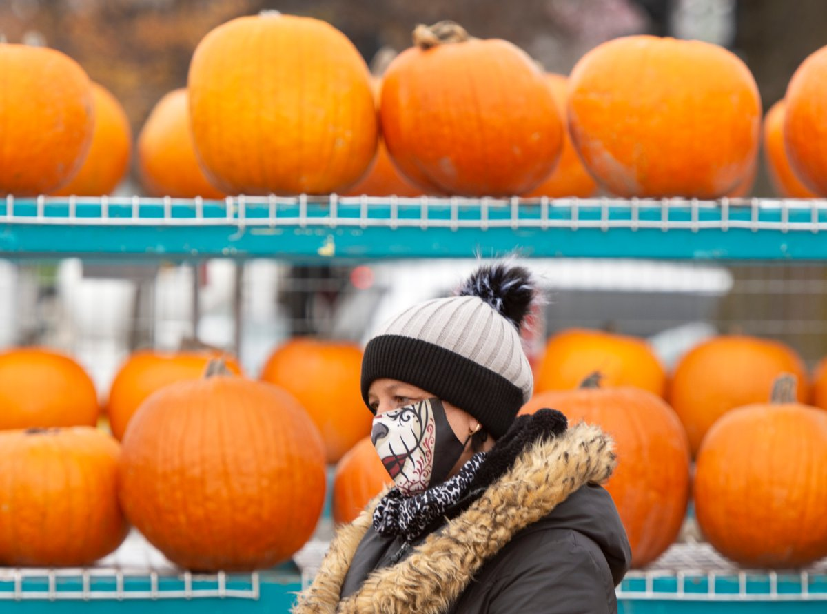 A pumpkin vendor waits for customers at a market, Wednesday, October 28, 2020  in Montreal.