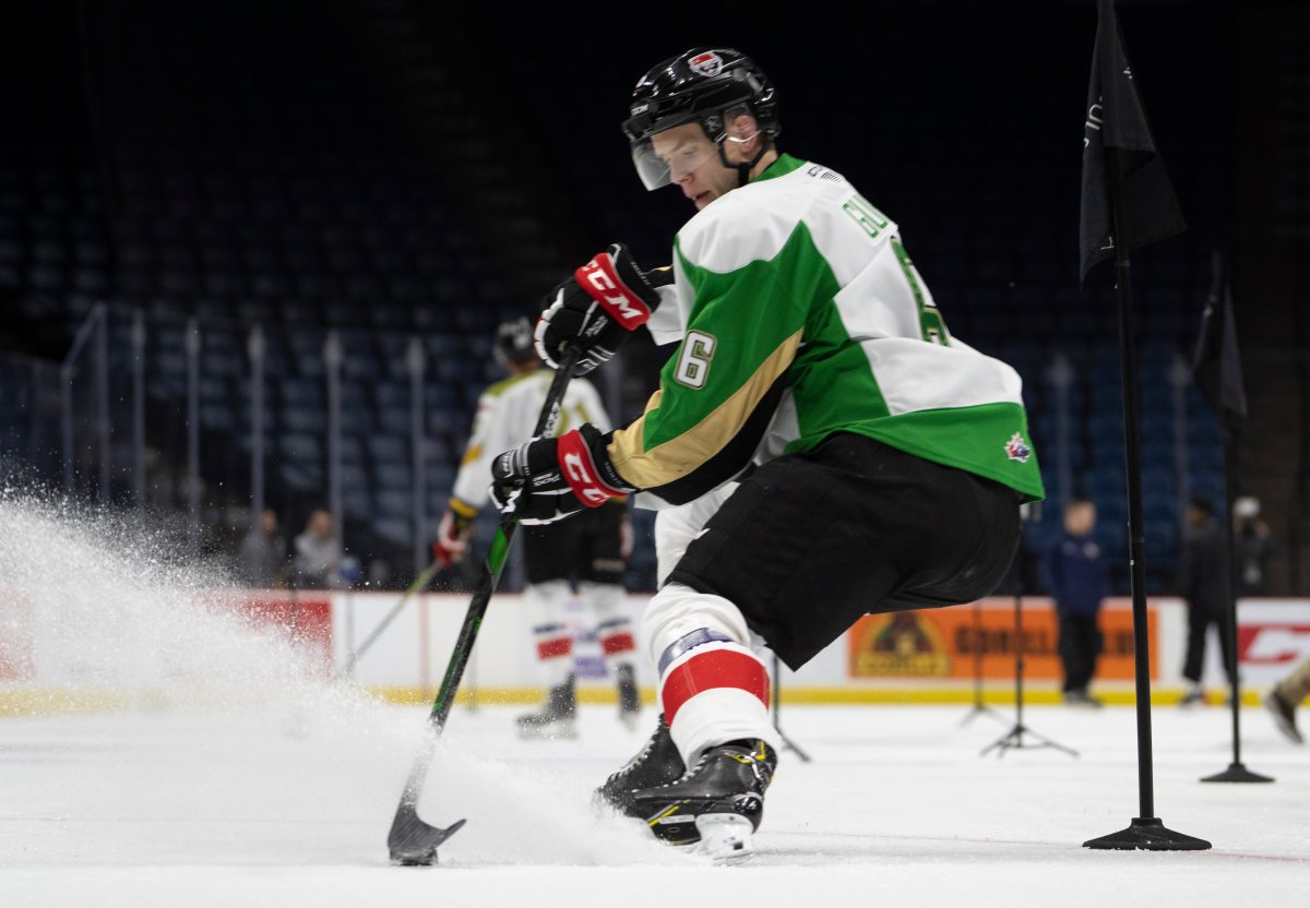 Team white defenceman Kaiden Guhle (6) controls the puck during the Kubota OHL/NHL Top Prospects team white on-ice skills testing in Hamilton, Ont. on Wednesday, January 15, 2020.